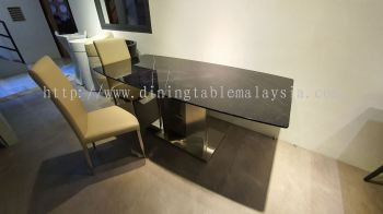 6 Seater Black Marble Dining Table