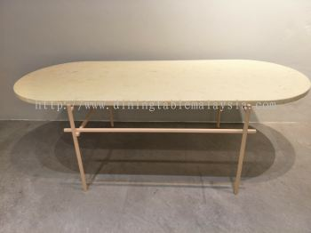 Honey Beige | Oval Marble Coffee Table | Last Unit | Cash & Carry | RM699