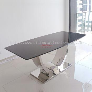 Minimal Black Marble Table | Black Marquina | 6 Seaters