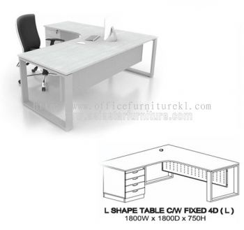 MO EXECUTIVE L-SHAPE TABLE WITH FIXED PEDESTAL SIZE