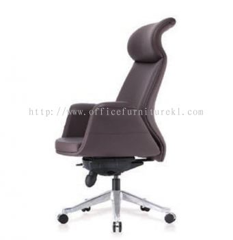 ZENOBIA DIRECTOR CURVE HIGH BACK LEATHER CHAIR C/W ALUMINIUM DIE-CAST BASE