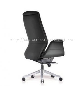 ZENOBIA DIRECTOR HIGH BACK LEATHER CHAIR C/W ALUMINIUM DIE-CAST BASE