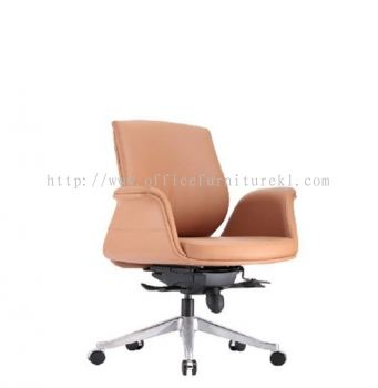 ZENOBIA DIRECTOR LOW BACK LEATHER CHAIR C/W ALUMINIUM DIE-CAST BASE