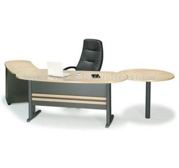 TITUS EXECUTIVE OFFICE TABLE / DESK OVAL SHAPE C/W FIXED PEDESTAL 2D1F, SIDE DISCUSSION TABLE & CPU HOLDER (W/O TEL CAP)  ATMB 33 (FRONT) (Color Maple) - executive office table Gombak | executive office table Dataran Mentari | executive office table Subang Jaya | executive office table Best Model