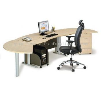 TITUS EXECUTIVE OFFICE TABLE / DESK D-SHAPE C/W SIDE DISCUSSION TABLE, FIXED PEDESTAL 4D & CPU HOLDER ATMB55 (FRONT) (Color Maple) - executive office table Accentra Glenmarie | executive office table One City | executive office table Petaling Jaya | executive office table Direct Factory Price