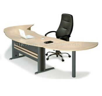 TITUS EXECUTIVE OFFICE TABLE / DESK D-SHAPE C/W SIDE DISCUSSION TABLE, FIXED PEDESTAL 4D & CPU HOLDER ATMB55 (FRONT) (Color Maple) - executive office table Setia Alam | executive office table Bangsar | executive office table Kelana Jaya | executive office table Office Furniture Manufacturer