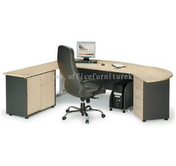 TITUS EXECUTIVE OFFICE TABLE / DESK D-SHAPE C/W SIDE CABINET & SIDE DISCUSSION TABLE, FIXED PEDESTAL 2D1F & CPU HOLDER ATMB 180A (FRONT) (Color Maple) - executive office table Nilai | executive office table Keramat | executive office table Damansara Intan | executive office table Ready Stock