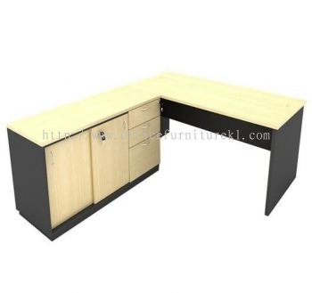 5' WRITING OFFICE TABLE / DESK C/W SIDE CABINET AGT157 (Color Maple) - writing office table Damansara Heights | writing office table Segambut | writing office table Seri Kembangan | writing office table 12.12 Mega Sale