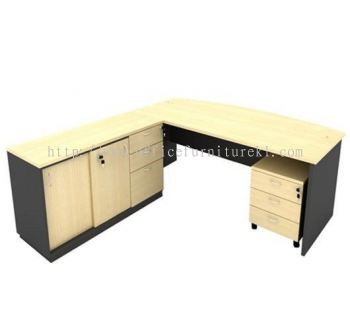 6' EXECUTIVE OFFICE TABLE / DESK D SHAPE C/W SIDE CABINET & MOBILE PEDESTAL 3D AGMB180 (Color Maple) - executive office table Sepang | executive office table Kajang | executive office table Taman Melawati | executive office table Fast Delivery