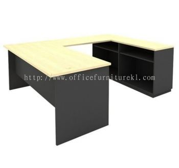 5' U SHAPE TABLE WITH DUAL OPEN SHEL LOW CABINET SET