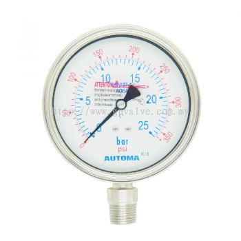 AUTOMA FULLY STAINLESS STEEL CRIMP PRESSURE GAUGE