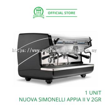 NUOVA SIMONELLI APPIA II V 2 Group Head RAISED - Commercial | Black | Espresso Machine