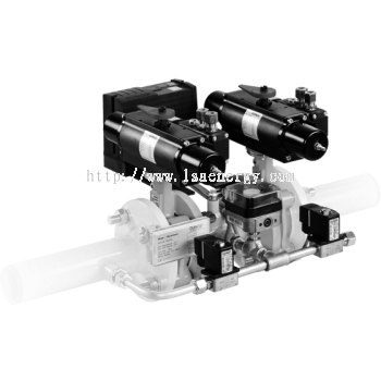 HF Bloc-...: Double valve combination, Pneumatic actuator, One-stage butterfly valve
