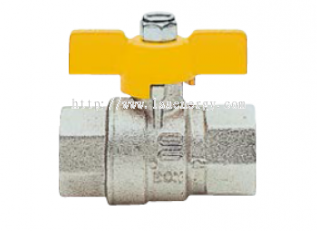 S1.227 Full Bore Ball Valve With T-Handle, Female/Female, Nickel-Plated.