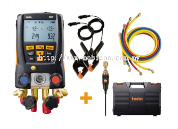 TESTO 557 Digital manifold kit - with Bluetooth and set of 4 filling tubes