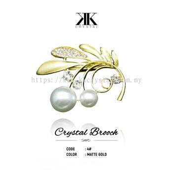 Crystal Brooch, 4#, MATTE GOLD