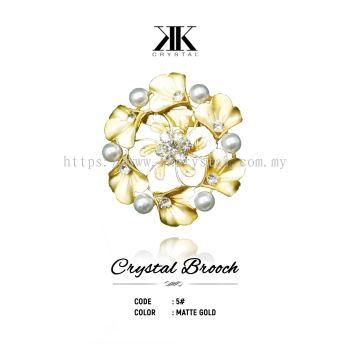 Crystal Brooch, 5#, MATTE GOLD