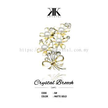 Crystal Brooch, 8#, MATTE GOLD