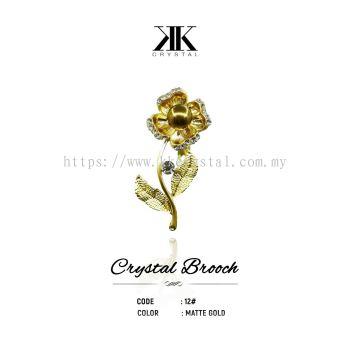 Crystal Brooch, 12#, MATTE GOLD