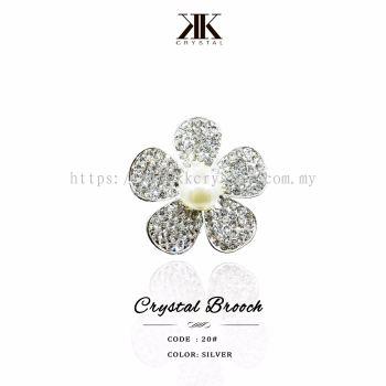 Crystal Brooch, 20#, Silver
