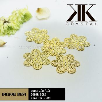 Dokoh Besi, Code: 7/A6/C/A, Gold Plated, 5pcs/pack (BUY 1 GET 1 FREE)