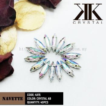 Chunky Beads, Navette, 4x15mm, Crystal AB, 40pcs/pack