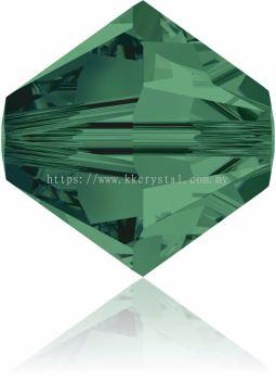 Swarovski 5328 XILION BEAD, 08MM, Emerald (205), 4pcs/pack