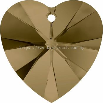 Swarovski 6228 Xilion Heart Pendant, 14.4x14mm, Crystal Bronze Shade (001 BRSH), 2pcs/pack