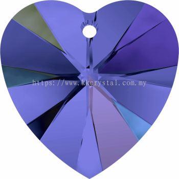 Swarovski 6228 Xilion Heart Pendant, 14.4x14mm, Sapphire AB (206 AB), 2pcs/pack