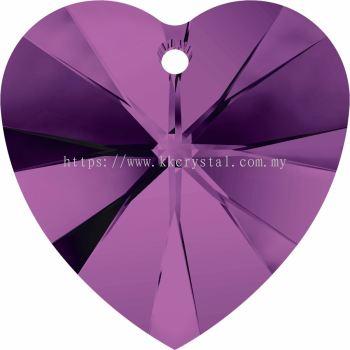 Swarovski 6228 Xilion Heart Pendant, 14.4x14mm, Amethyst (204), 2pcs/pack