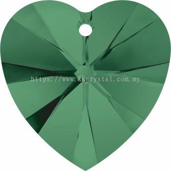 Swarovski 6228 Xilion Heart Pendant, 14.4x14mm, Emerald (205), 2pcs/pack