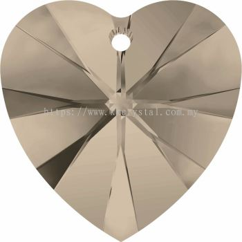 Swarovski 6228 Xilion Heart Pendant, 14.4x14mm, Greige (284), 2pcs/pack