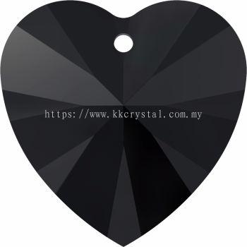 Swarovski 6228 Xilion Heart Pendant, 14.4x14mm, Jet (280), 2pcs/pack