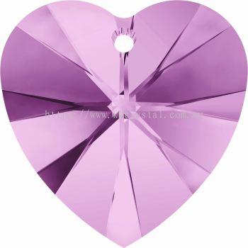 Swarovski 6228 Xilion Heart Pendant, 14.4x14mm, Light Amethyst (212), 2pcs/pack