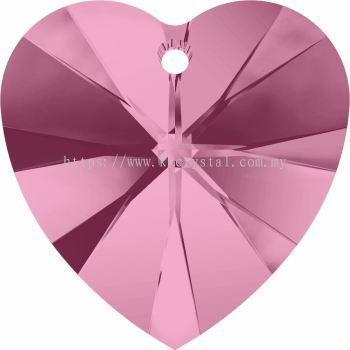 Swarovski 6228 Xilion Heart Pendant, 14.4x14mm, Light Rose (223), 2pcs/pack