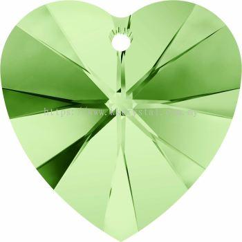 Swarovski 6228 Xilion Heart Pendant, 14.4x14mm, Peridot (214), 2pcs/pack