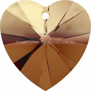 Swarovski 6228 Xilion Heart Pendant, 14.4x14mm, Topaz Blend (722), 2pcs/pack