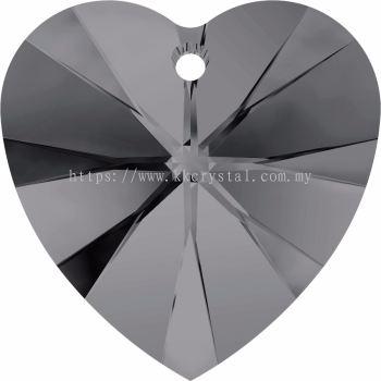 Swarovski 6228 Xilion Heart Pendant, 18x17.5mm, Crystal Silver Night (001 SINI), 1pcs/pack