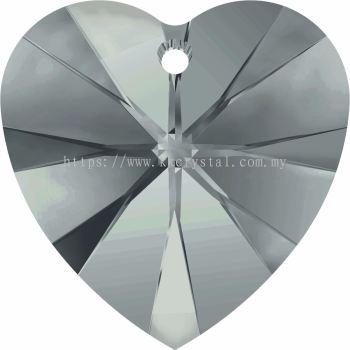 Swarovski 6228 Xilion Heart Pendant, 18x17.5mm, Black Diamond (215), 1pcs/pack
