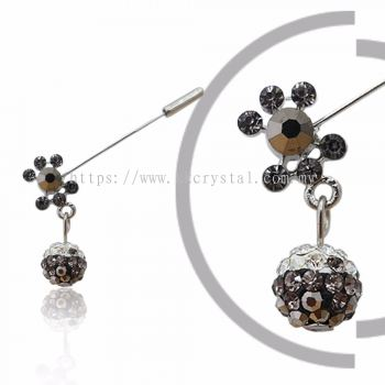 Pin Brooch 7003#, Silver, 2pcs/pack
