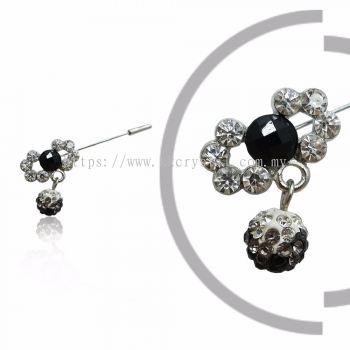 Pin Brooch 7012#, Black, 2pcs/pack