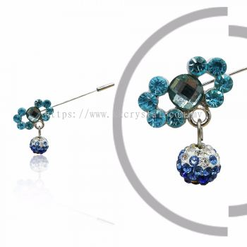 Pin Brooch 7012#, Blue, 2pcs/pack