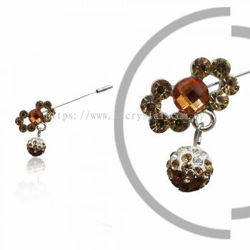 Pin Brooch 7012#, Brown, 2pcs/pack