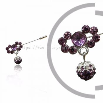 Pin Brooch 7012#, Purple Amethyst, 2pcs/pack