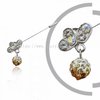 Pin Brooch 7013# (Double Heart), Gold Topaz, 2pcs/pack