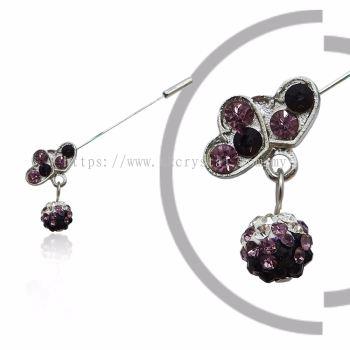 Pin Brooch 7013# (Double Heart), Purple Amethyst, 2pcs/pack
