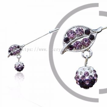 Pin Brooch 7014# (Leaf), Purple Amethyst, 2pcs/pack