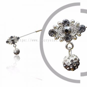 Pin Brooch 7015#, Silver, 2pcs/pack