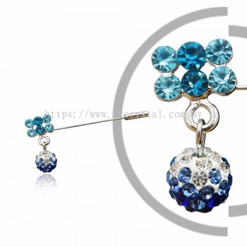 Pin Brooch 7016#, Blue, 2pcs/pack