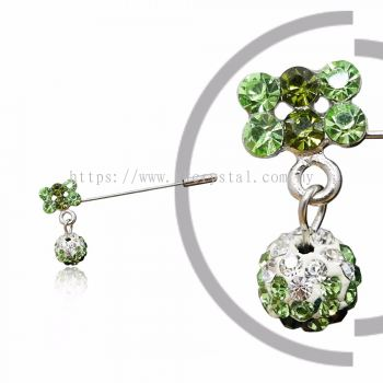 Pin Brooch 7016#, Green Olivine, 2pcs/pack